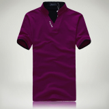 Beli Warna Solid Slim Stand Up Kerah Bordir T Shirt Kemeja Polo Ungu Oem Murah