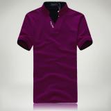 Harga Warna Solid Slim Stand Up Kerah Bordir T Shirt Kemeja Polo Ungu Terbaik