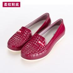 Warrior Pendek Dewasa Non-slip Tahan Udara Sepatu Karet Sepatu Bot Hujan (Merah Marun (Lembut Bawah))