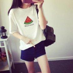 Watermelon fruit pattern short sleeve t-shirt female bestie sisters outfit - intl