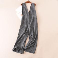 Wc405 Perempuan Baru Pinggang Tinggi Bergaris Celana Sepotong Gaya Korea Dari Overall Bergaris Abu Abu Baju Wanita Celana Wanita Tiongkok Diskon 50