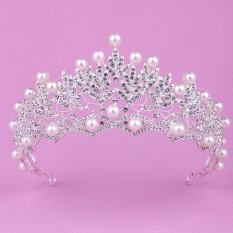 Kristal Pengantin Pernikahan Mutiara Perak Mahkota Tiara Ratu Aksesoris Rambut Ikat Kepala-Intl