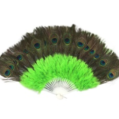 Pernikahan Menari Elegan Bulu Besar Folding Hand Fan Decor Decal Green-Intl