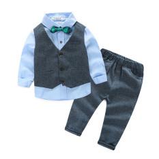 Pernikahan Cocok untuk BABY Boys 3 Pieces Set Musim Gugur Anak's Leisure Pakaian Set Anak-anak Baby Boy Suit Vest Gentleman Pakaian