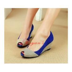 Harga Wedges Electric Blue Flat Shoes Wanita Sepatu Sandal Wanita Paling Murah