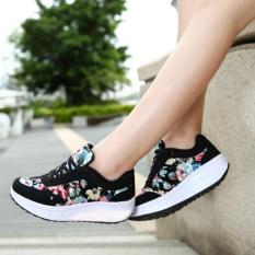 Wedges Kets Bunga Hitam SR05 / Sepatu Kets Wanita Olahraga Cewek Cewek Boots Boot Senam / Sepatu Sekolah - Kuliah