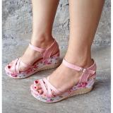 Promo Wedges Tali Silang Motif Bunga Pink Others