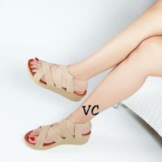 Promo Wedges Wanita Santai Karet Cream Sn27