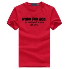 Weiliang Bekerja untuk Allah Manfaatnya Besar Pria Modis Katun Kaus Pendek Merah-Internasional