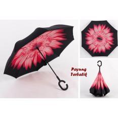 WeLove Payung Terbalik Reverse Umbrella Kazbrella Gagang C Kualitas Bagus - Motif 3 (Pink)