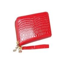 BIKING BARAT? Lady's Fashion Kapasitas Besar Pola Buaya dengan Belt Long Double Zipper Dompet (Merah)-Intl