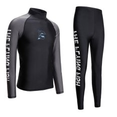 Wetsuit Men For Surfing Two Piece Scuba Diving Long Sleeve Sun Protection-Black