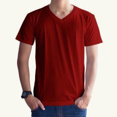Whats Up Kaos Baju Polos T-shirt V Neck Untuk Karyawan Premium Cotton - MERAH MAROON