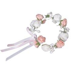 Putih And Berwarna Merah Muda Dua Lapisan Mawar Bunga Garland Pengantin Gelang Alat Photo Peraga Ngomong & #45; Internasional