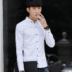Musim Gugur PUTIH Bisnis Kasual BARU Lengan Panjang Kemeja Mens Shirt Korea Slim Muda Pria Kapas Kemeja-Intl