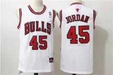 Putih Basket Jersey Michael Jorden #45 Pria NBA Chicago Bulls Resmi-Intl