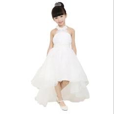 Putih Anak Gadis Halter Asimetris Bola Gaun Pernikahan Gaun Pengiring Pengantin-Intl