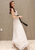 Promo White Dress With Hitam Pinggang Tie Gaun Malam Warna C0 Tiongkok