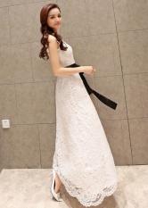 Promo Toko White Dress With Hitam Pinggang Tie Gaun Malam Warna C0