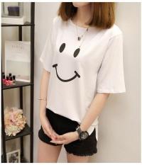 Putih FASHION T-shirt Wanita Tersenyum Wajah Cetak Summer Wanita Fashion Tops Ladies Tee Kemeja Lengan Pendek Kasual Tops Tees -Intl
