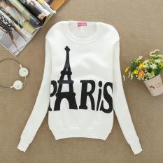 WHITE Hot Penjualan Musim Semi Musim Gugur Wanita Hoodies Casual PARIS Dicetak Olahraga Sweatshirt Pullover Candy Jaket Mantel Pakaian Bersepeda Tops-Intl