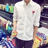 Toko Putih Kemeja Pria Slim Gaun Pria Kemeja Santai Lengan Panjang Kemeja Pria Tops Tide Bordir Bunga Intl Termurah Tiongkok