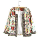 Promo Whyus High Quality New Vintage 3 4 Sleeve Ethnic Floral Printed Short Coat Ladies Thin Jacket Outwear White Xl Intl