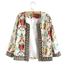 Whyus-High Quality New Vintage 3/4 Sleeve Ethnic Floral Printed Short Coat Ladies Thin Jacket Outwear White XL - intl
