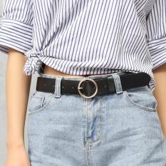 Whyus- Ikat Pinggang Wanita Kulit Faux Style Korea Mata Ikat Pinggang Bulat Bahan Alloy (Hitam) - Intl
