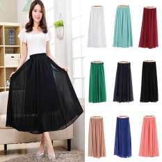 Whyus Wanita Chiffon Long Solid Permen Warna Pleated Rok Maxi (Royal Biru)-Intl