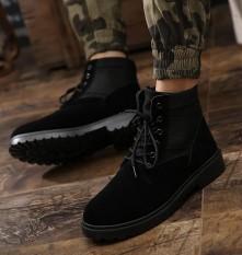 WI Pendek Boots Men's Leather Flat Martin Boots, Inggris Desert Boots Siswa Edisi Korea-Intl