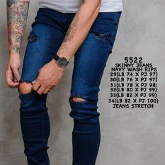 Tips Beli Wikie Clothing Jeans Skinny Sobek Paha Lutut Navy Wash Yang Bagus