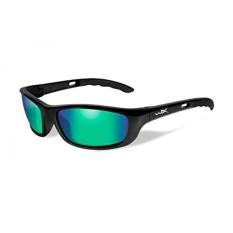 Wiley X P-17 Sunglasses, Polarized Emerald Cermin, Gloss Black-Intl