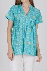 WINGGO Blouse Batik Blus Jumputan Pastel Green
