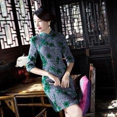 Wings Fashion Gaya Slim Retro Cheongsam Gaun Pengantin Dress Midi Formal (Warna: C0)-Intl