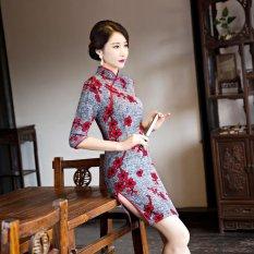 Wings Fashion Gaya Slim Retro Silk Cheongsam Gaun Pengantin Dress Midi Formal (Warna: C0)-Intl