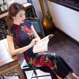 Harga Termurah Wings Fashion Gaya Slim Retro Silk Panjang Bagian Cheongsam Maxi Gaun Formal Warna C0 Intl