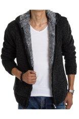 Winter Casual Mens Menebal Cardigan Sweater Lapisan Bulu Hoodie Strait Jacket Jaket Bertudung (Hitam)
