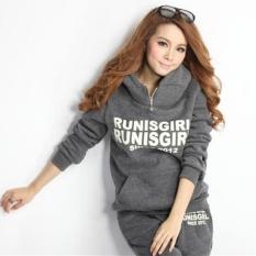 Harga Winter Casual Sesuai Korea Hooded Fleece Tebal Sweater Tiga Set Menjual Grey Intl Termahal