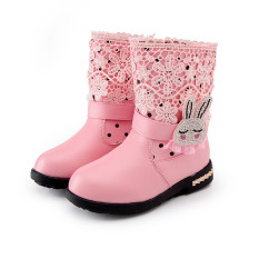 Musim Dingin Putri Anak Perempuan Kulit Asli Sepatu Bot Salju Rabbit Renda