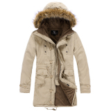 Winter Jacket Men Casual Thick Velvet Warm Jackets Anti Freezing Parkas Mens Cotton Army Hooded Jacket Long Trench Coat M Khaki Intl Oem Diskon 30