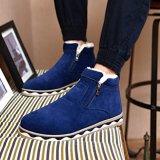 Diskon Musim Dingin Pria Kapas Sepatu Boot Casual Outdoor Sepatu Flat Blue Tiongkok