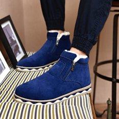 Jual Musim Dingin Pria Kapas Sepatu Boot Casual Outdoor Sepatu Flat Blue Oem