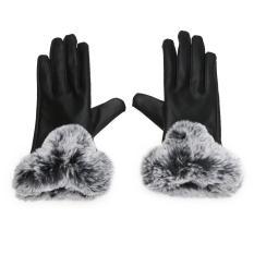 Harga Winter Pu Kulit Mittens Lady Elegan Female Kelinci Rambut Gloves Hitam Intl Lengkap