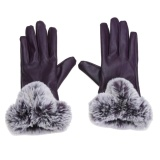 Toko Winter Pu Leather Mittens Lady Elegant Female Rabbit Hair Gloves Purple Intl Murah Di Hong Kong Sar Tiongkok