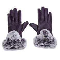 Jual Winter Pu Leather Mittens Lady Elegant Female Rabbit Hair Gloves Purple Intl Vakind Asli