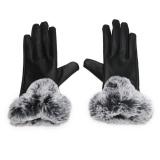 Ongkos Kirim Winter Pu Kulit Mittens Lady Elegan Female Kelinci Rambut Gloves Hitam Intl Di Hong Kong Sar Tiongkok