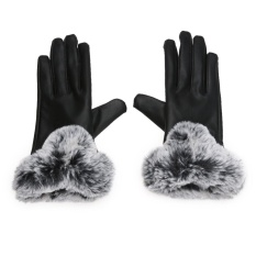 Beli Winter Pu Kulit Mittens Lady Elegan Female Kelinci Rambut Gloves Hitam Intl Yang Bagus