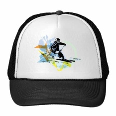 Winter Sport Athletes Synchronized Skiing Sports Freestyle Skiing Watercolor Sketch Illustration Trucker Hat Baseball Cap Nylon Mesh Hat Cool Children Hat Adjustable Cap