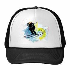 Olahraga Musim Dingin Atlet Disinkronkan Ski Olahraga Watercolor Sketsa Ilustrasi Trucker Topi Bisbol Topi Nylon Mesh Topi Keren Anak Topi Yang Dapat Cap-Intl